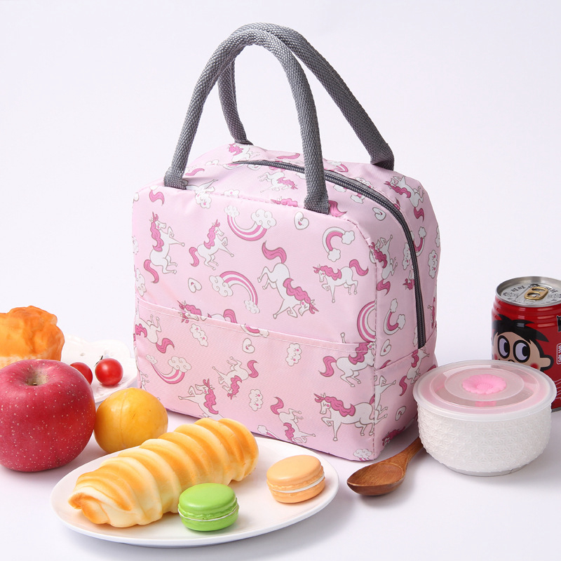 Cute Cartoon Unicorn Flamingo Lunch Bag Portable Thermal Food Picnic Child Insulated Tote Cooler Bag Ice Bag Women Kid Lunch Box