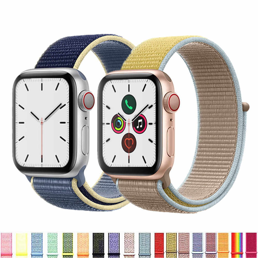 Tali untuk Apple Watch Band Olahraga Loop Apple Watch 5 4 3 Band 44 Mm 40 Mm IWatch 5 4 42 Mm 38 MM Correa Nilon Gelang Pulseira NATO