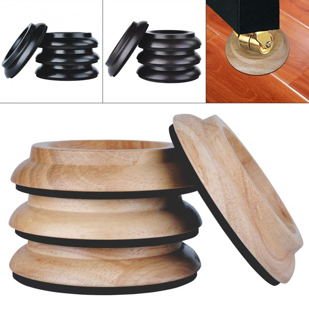 4pcs Solid Wood Vertical Piano Mats Foot Caster Cups Shockproof Soundproof And Moistureproof With EVA Mat Black / Brown / Wood