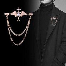 Broche ailes d'ange en métal, bijoux à la mode, nouvelle chaîne en or coréenne en cristal, broches de costume pour hommes, 2021