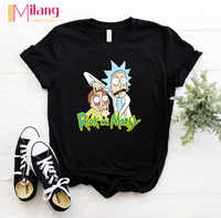 Women Rick And Morty Black T-shirts Female Short Sleeve Tees Girl Tops 2020 Summer Brand Spacex Clothing