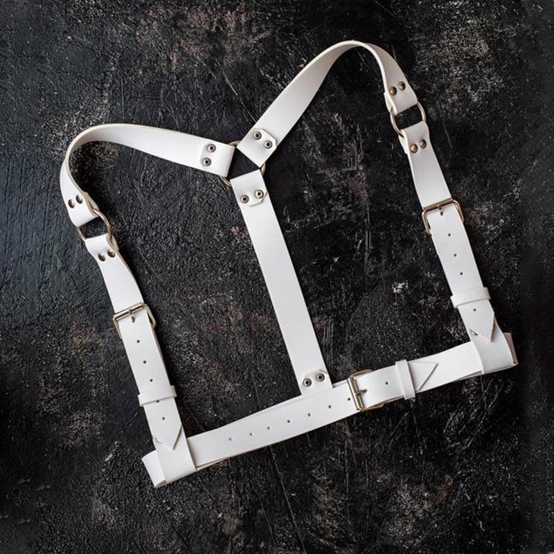 Hmex Women Wide Leather Harness Belt Garter Punk Gothic Sexy Suspenders Bdsm Body Bondage Chest Straps Off White Belt