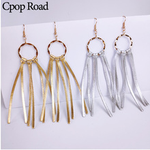 Cpop Trendy Genuine Sheep Leather Tassel Earrings Gold Silver Pendant Circle Fashion Jewelry Accessories
