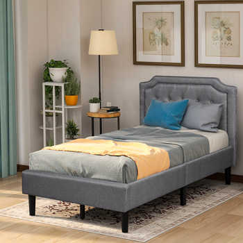 Upholstered Scalloped Linen Platform Bed, Twin Size, Gray - SALE ITEM All Category