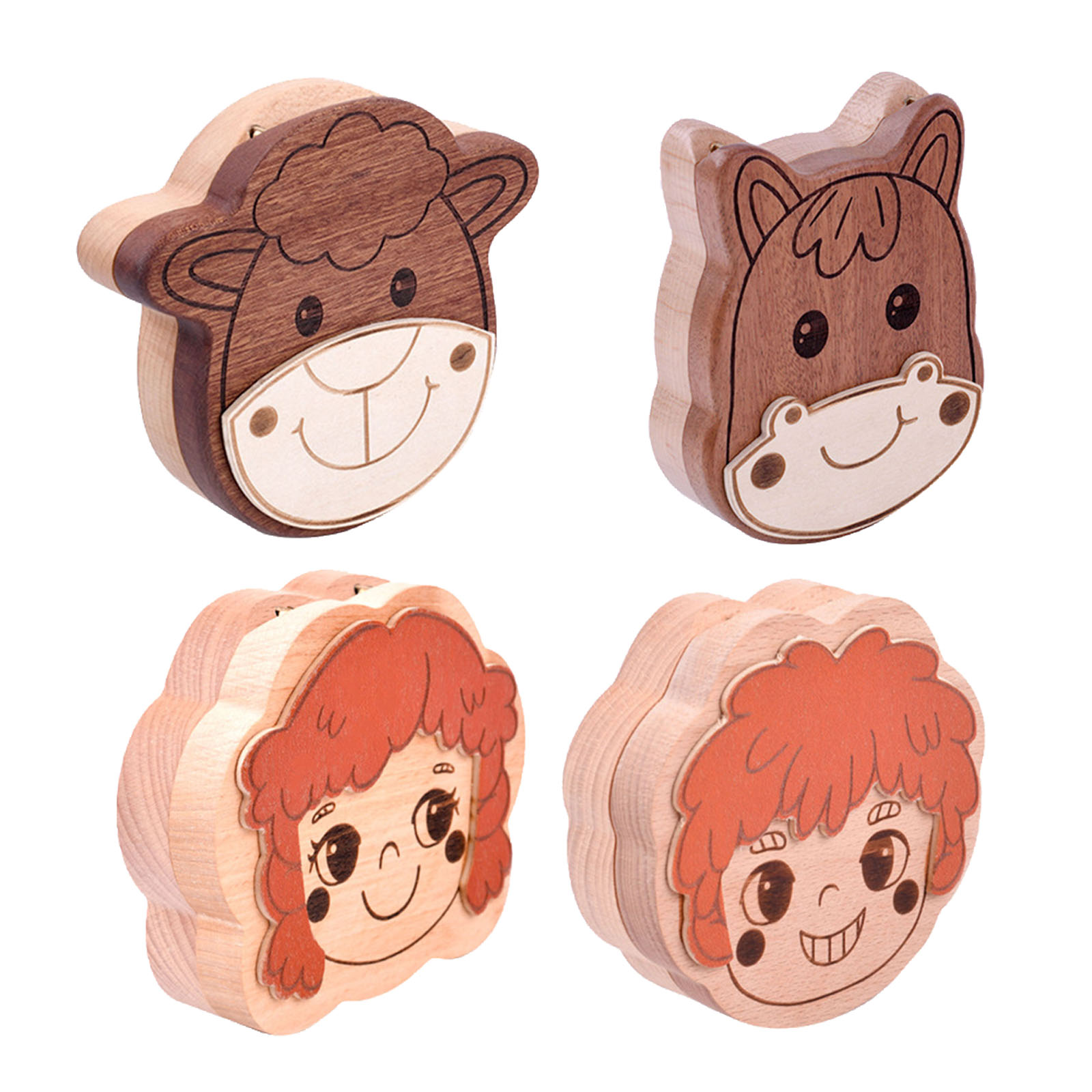Cartoon Wooden Baby Tooth Box for Milk Teeth Storage Lanugo Hair Collect Container