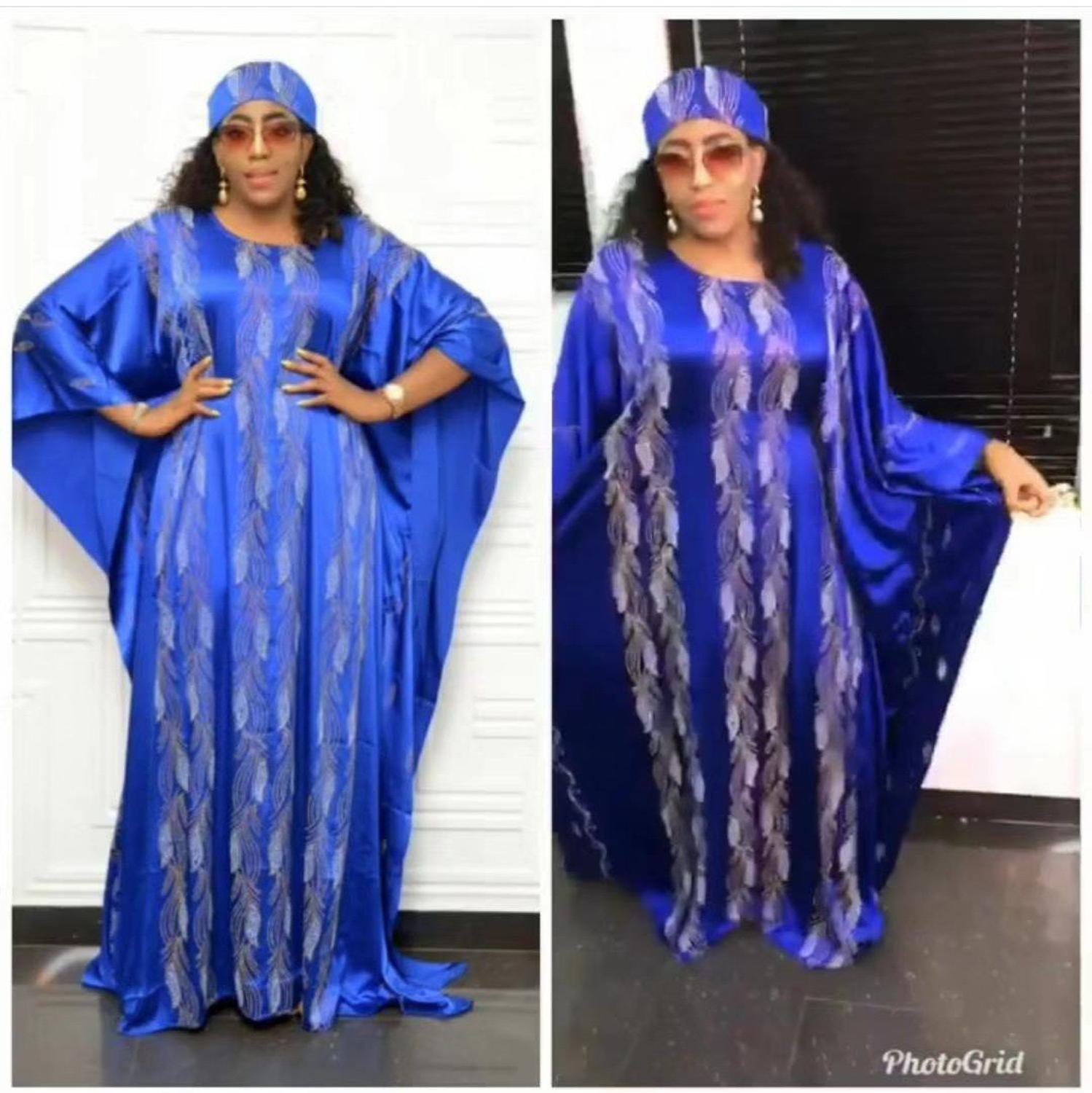 African Dresses For Women Beautiful Muslim Silk Long Maxi Dress Traditional Abaya Dresses For Lady Match Scarf
