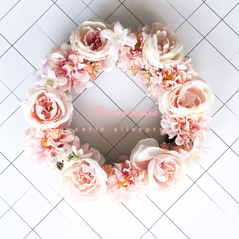 30cm 40cm Pink Wedding Flower Wreath Garland LED Lights Home Decor Ornaments Wreath Hanger Front Door Decorations For Home