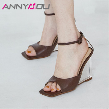 ANNYMOLI Real Leather Super High Heels Woman Ankle Strap Sandals Transparent Strange Style Heel Shoes Square Toe Lady Sandals 40