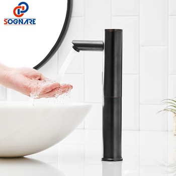 Automatic Sensor Faucet Touchless Infrared Sensor Faucet Inductive Electric Water Tap Mixer Battery Power Black Basin Faucet fashion style automatic sense faucet for kitchen bathroom basin water saving electric sensor water tap mixer
