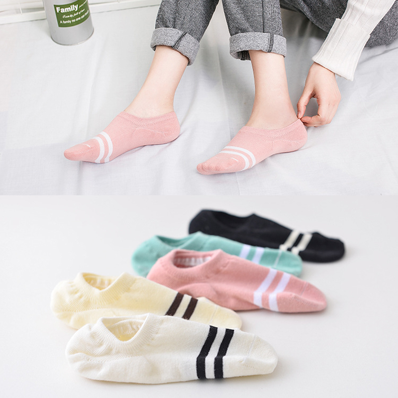 5 Pairs New Women's Shallow Mouth Invisible Boat Socks Silicone Non-Slip Sports Invisible Breathable Cotton Socks Art Meias
