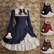Новинка; платье с высоким воротником в стиле Лолиты; готическое платье горничной; элегантное платье с бантом на шнуровке; платье с рукавами «Мандарин»; костюм Лолиты; Cos
