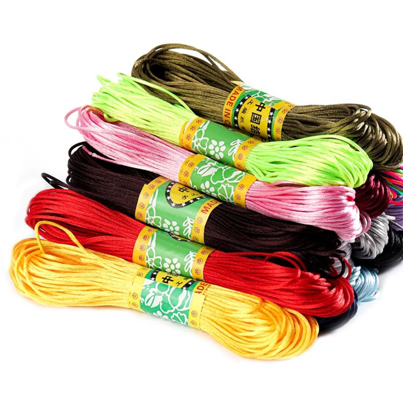 Chinese Knot Satin Nylon Braided Cord Macrame Beading Rattail Wire Cord 20M