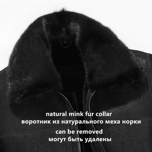 Image 4 - Gours Winter Genuine Leather Jackets Men Fashion Black Real Shearling Sheepskin Long Coat with Natural Mink Fur Collar GSJF1927