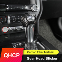 QHCP Gear Knob Stickers Real Carbon Fiber Gear Shift Head Cover Trims Black Sport For Ford Mustang 2015 2016 2017 2018 2019 2020