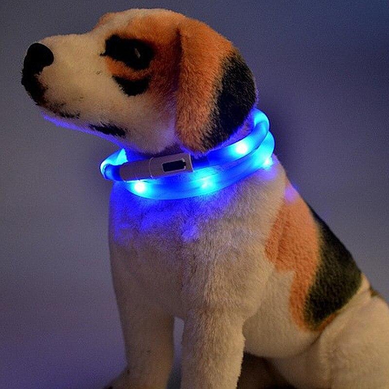 USB Charging Dog Neck Ring Luminous Collar Teddy Golden Retriever Samoyed Dog Night Light Neck Ring