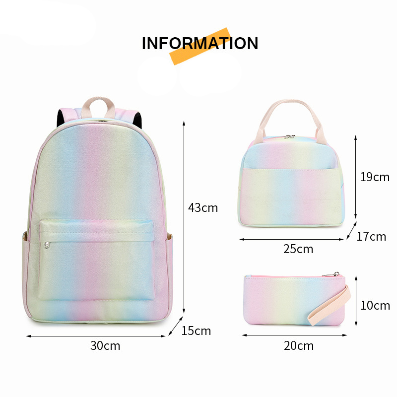 Teen Girls Backpack Set Kids School Bookbag Lightweight Waterproof Polyester Big Capacity 15 inches Laptop Bag Girls School Bags