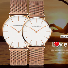 Rose Gold Couple Watch Luxury Steel Belt Simple Design Dial Lovers Elegant Waterproof King Queen Silver Quartz