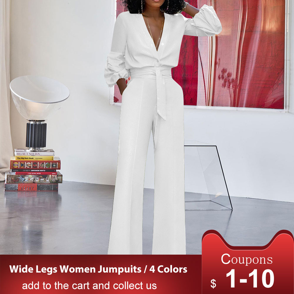 Women Sexy Deep V-Neck Jumpsuits Wide Leg Pants Elegant Bandage Romper Puff Sleeve Casual Party Overalls Sashes Female White