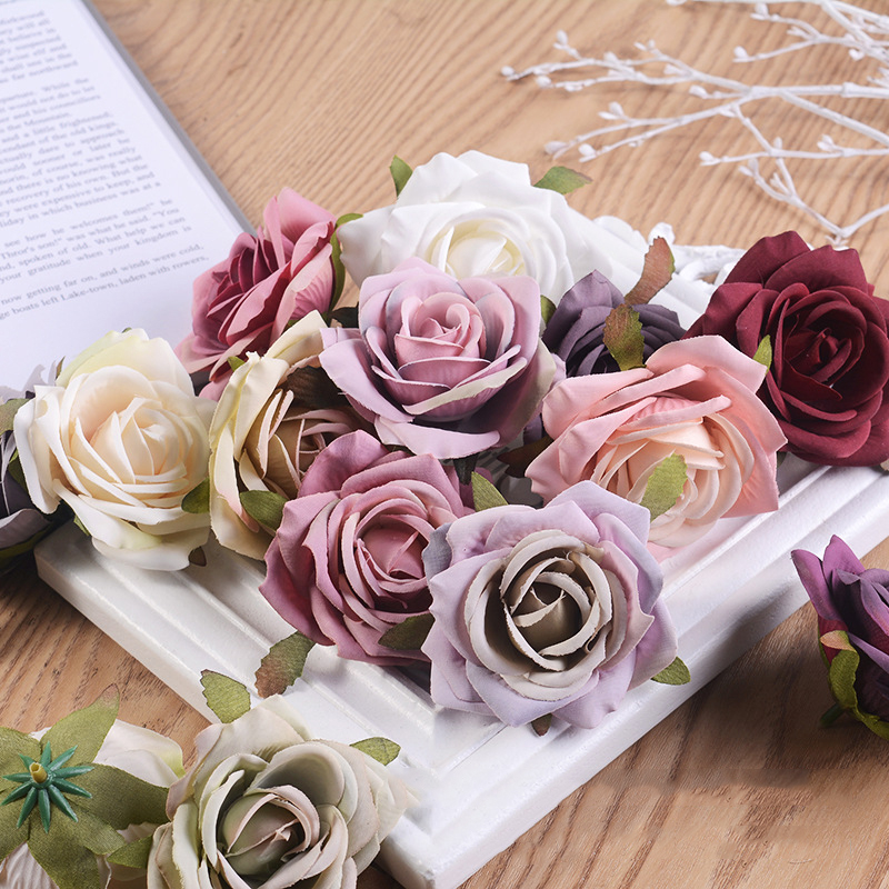 JAROWN Artificial Silk Roses Flowers Scrapbook Wedding Home Decor DIY Gifts Box Christmas Garlands Household Products Fake Flowers (19)