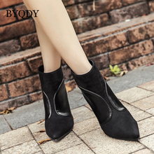 BYQDY Woman Ankle Boots Women Pointed Toe Fashion PU Leather Boots Thin High Heel Boots Shoes Fashion Bota Feminina Lady Shoes msstor pointed toe high heel boots shoes woman casual fashion zipper knee high boots women shoes elegant thin heel women boots