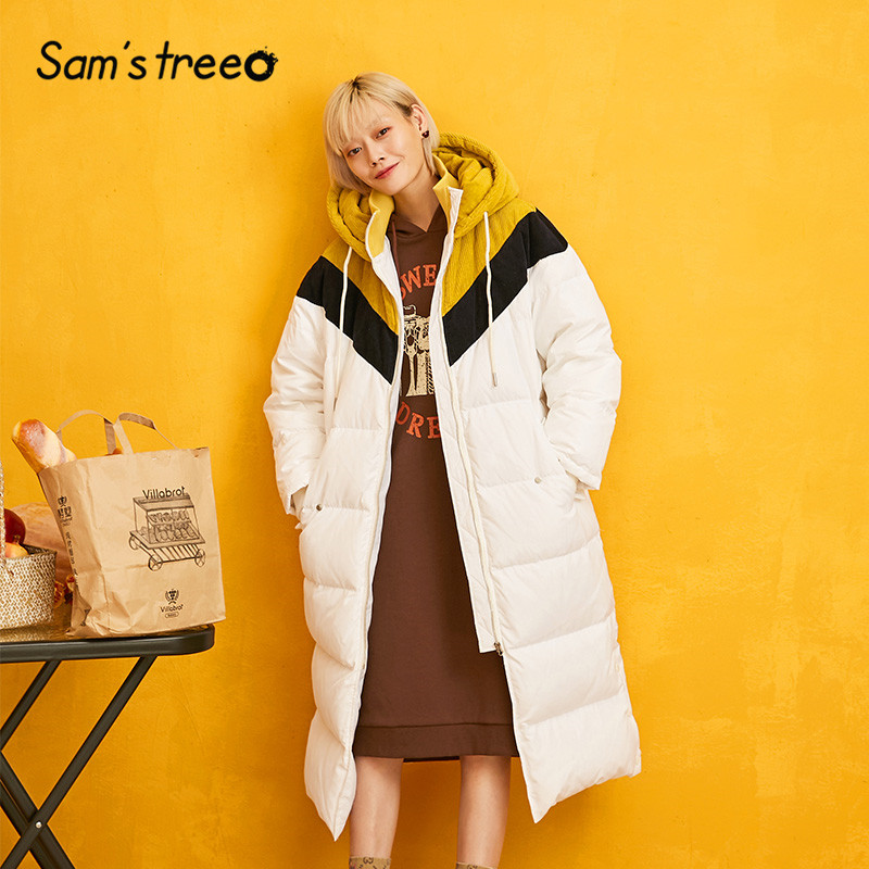 SAM'S TREE White Solid Patchwork Straight Hoodies Warmness Down Coat Women 2019 Winter Drawstring Split Oversive Female Outwears
