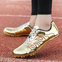 Unisex Track Shoes with Spikes Men Women Track and Field Sneakers Athletics Training Shoes Leather Sprint Running Shoes Spikes