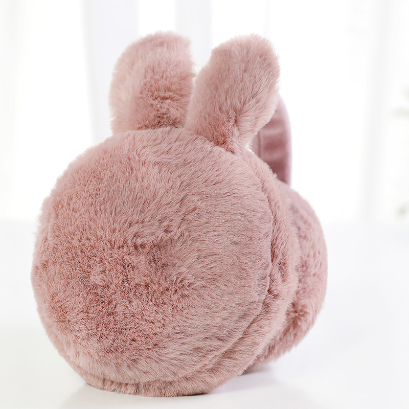 Lady's Winter Earmuffs Rabbit Ear Plush Fur Earmuffs Collapsible Ear Cover Ears And Warm Fluffy Ear Muffs Fleece Ear Warmers