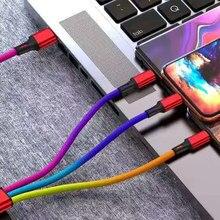 Carga rápida novo colorido 3 em 1 cabo usb para iphone samsung xiaomi multi carregador micro cabo usb 2 em 1 telefone móvel usb tipo c