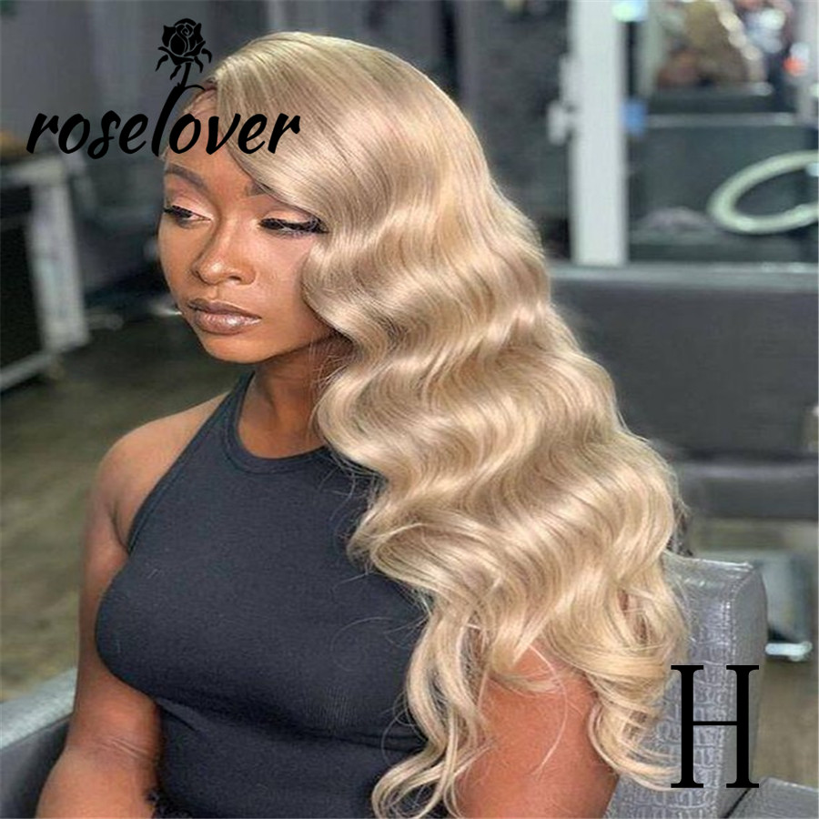 Roselover 13*6 Lace Front Human Hair Wigs Honey Blonde Body Wave Wigs Pre Plucked Wigs For Woman Remy Brazilian Human Hair Wigs