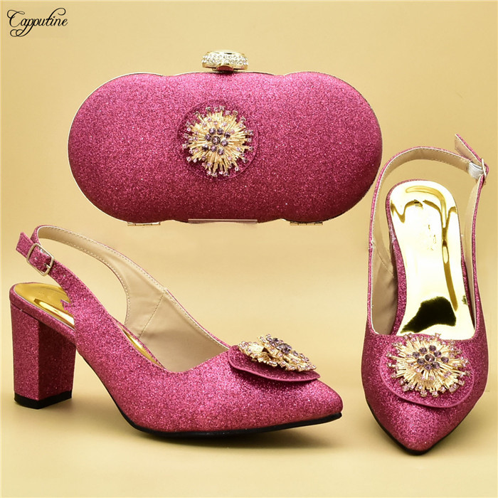Latest Fuchsia Color Spring/autumn Design Pump Shoes With Evening Bag Set For Wedding/party 108-1 Heel Height 7cm