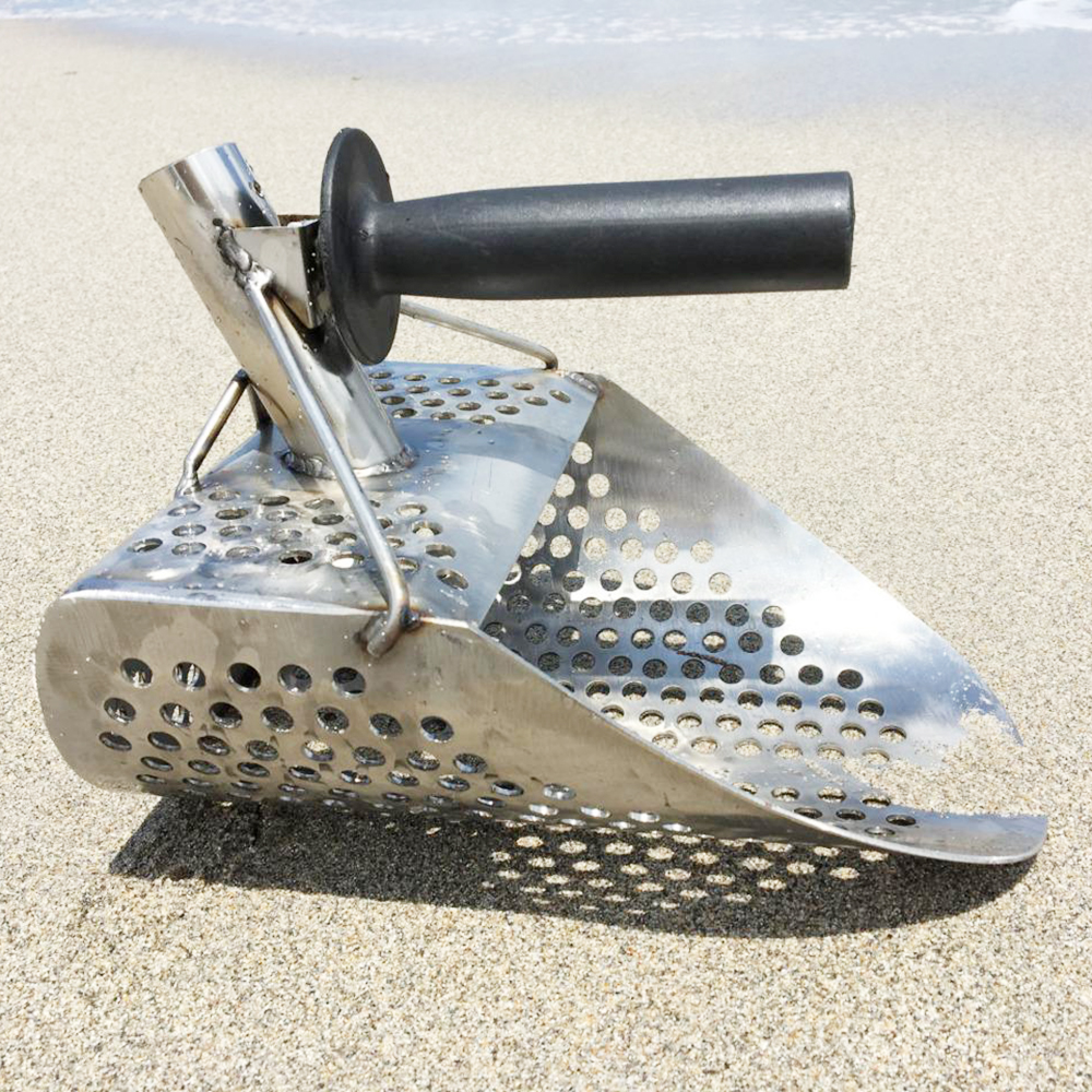 Pelle à sable en acier inoxydable détecteur de métaux pelle à sable de plage avec poignée gratuite détecteur de métaux à tamiser rapide