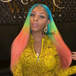 Image 2 - Lace Front Human Hair Wigs Rainbow Colored Straight Lace Frontal Wig Brazilian Transparent Full T Color Lace Dolago Colorful Wig