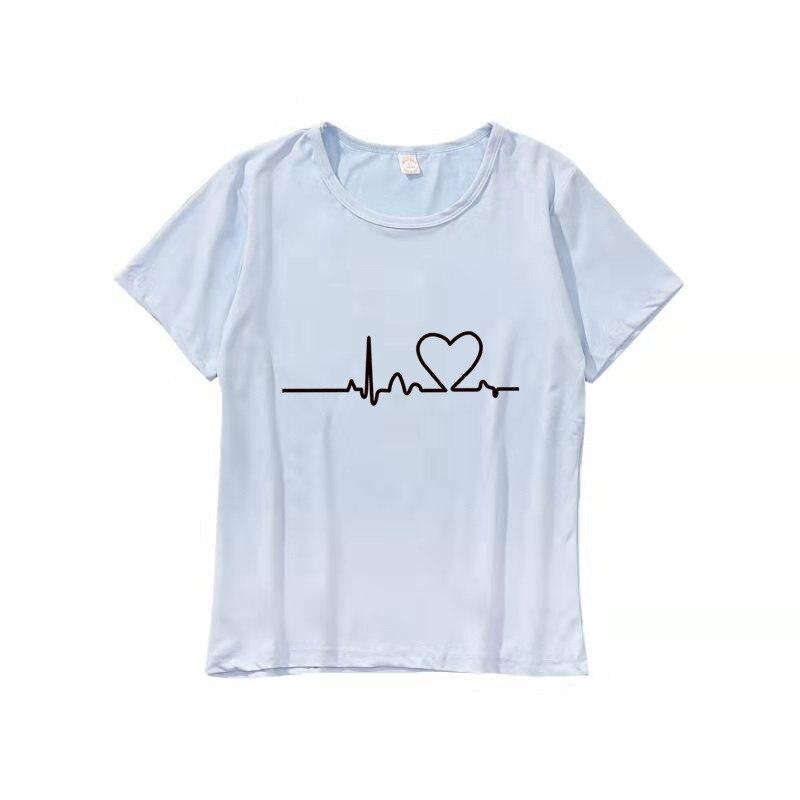 """Летняя парная Футболка """"Влюбленные"""" для женщин, повседневные белые топы, женская футболка, футболка с вышитым сердечком, женская футболка - Цвет: Heartbeat sky biue"""