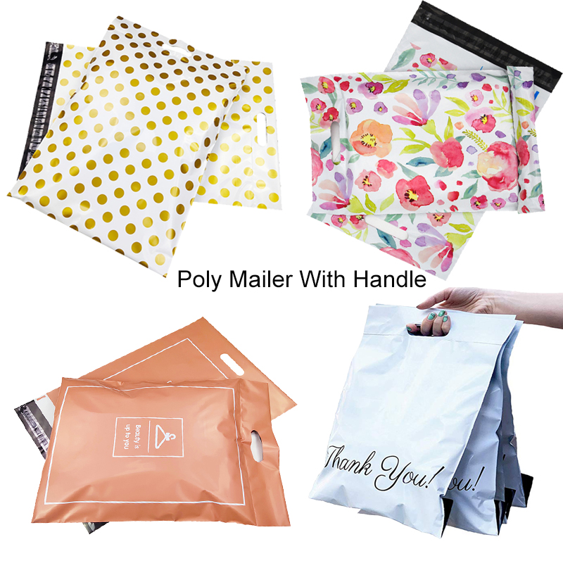 100% New Material Thank You Tote Express Courier Self-Sealing Pouches Portable Plastic Poly Envelope Shoes Gifts Mailing Bag