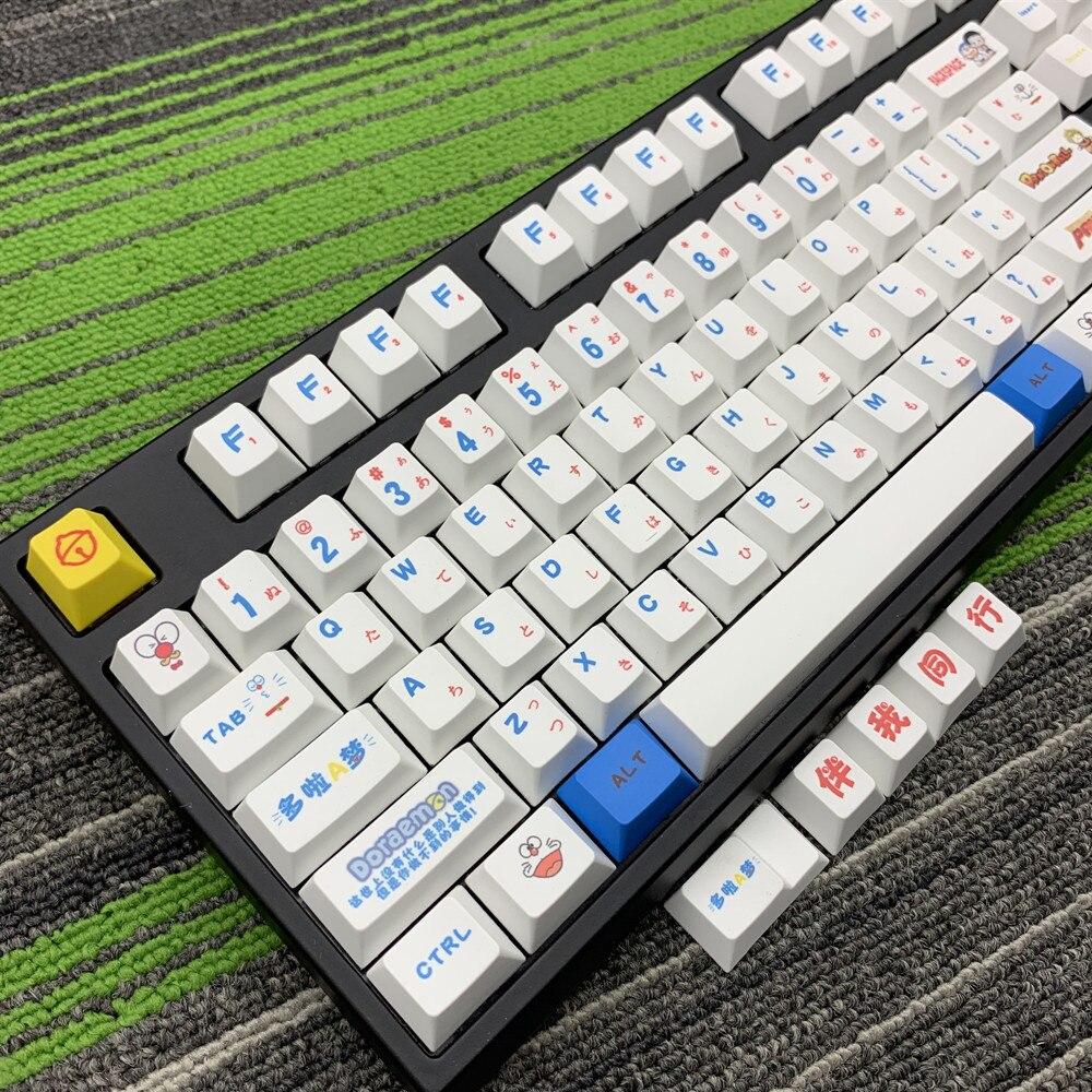 Doraemon PBT de perfil MX para teclado mecánico keycap tinte-Sub japonés Kyecaps