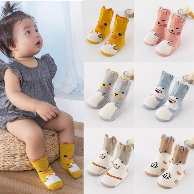 2019 Newborn Baby Cartoon Print Sole Soft Sock Boys Girls Infant Toddler Anti-slip Floor Socks