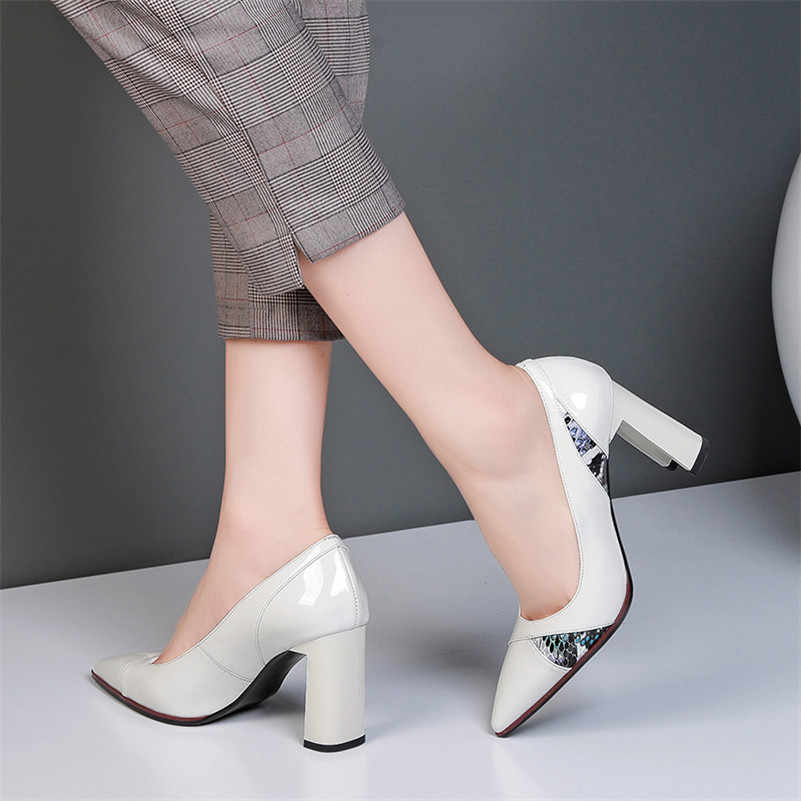 Meotina High Heels Women Pumps Natural Genuine Leather Super High Heel Party Shoes Real Leather Mixed Colors Shoes Ladies 34-39