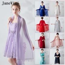 JaneVini Elegant Summer Short Bridal Chiffon Cape Shawls Women Shrug Bolero Wraps Lace Applique Beaded Wedding Party Accessories