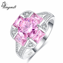 Lingmei Wedding Band Round Cut New Arrival Pink Purple White Zircon Silver 925 Ring for Women Size 6 7 8 9 Christmas gift