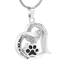 Cremation Jewelry for Ashes Necklace Hot Selling Pet Urn Keepsake Paw Print Charm Cat Dog