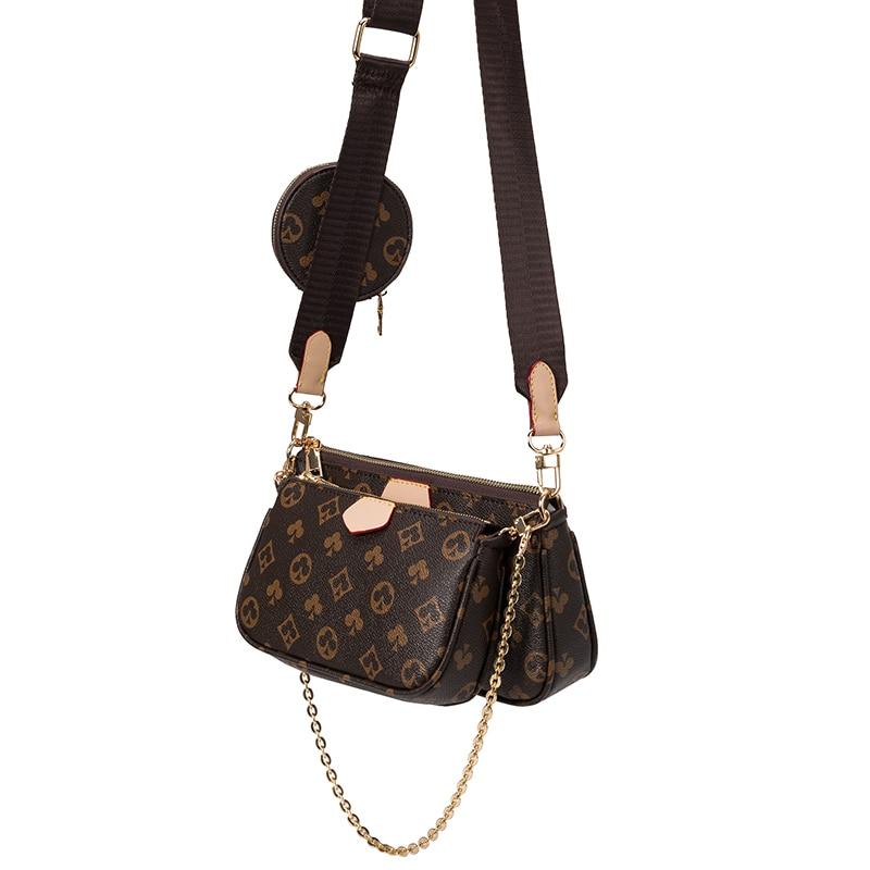 Vintage Druck Handtasche 3-IN-1 Mode Marke Messenger Taschen für Frauen Pu Leder Umhängetasche Dame Kleine geldbörse Handtasche Totes