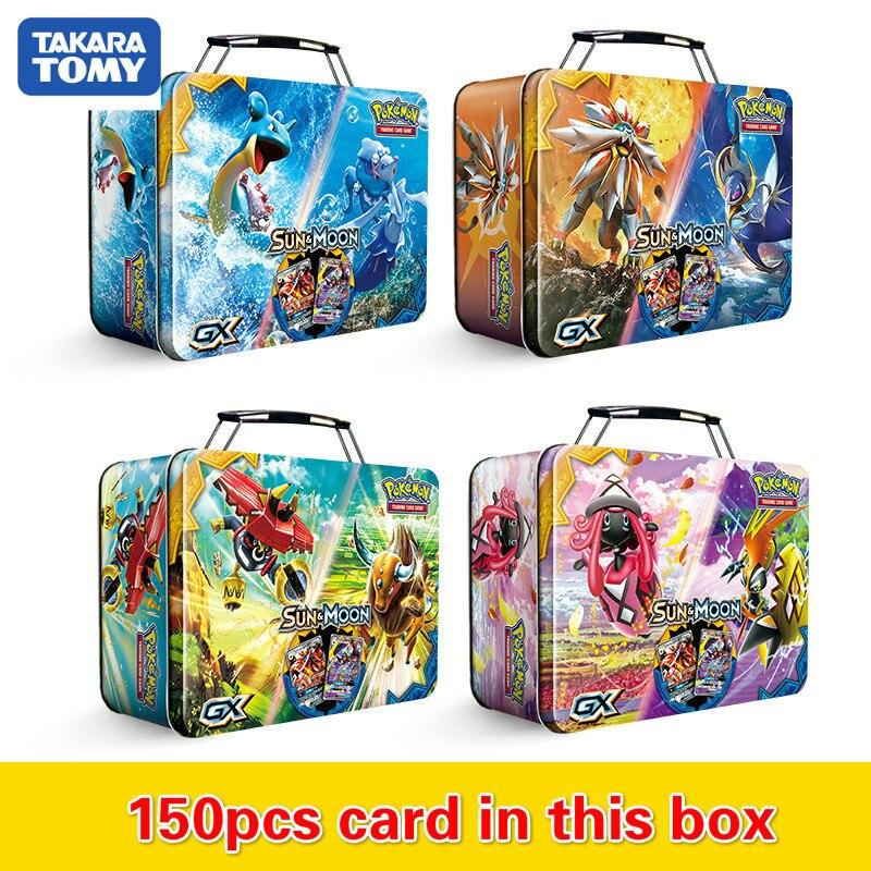 Pokemon TAKARA TOMY 150 pièces étui de transport boîte bataille jouets loisirs passe-temps à collectionner jeu Collection Anime cartes pour les enfants
