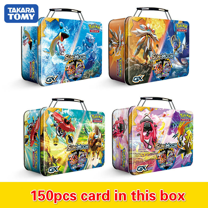 Pokemon TAKARA TOMY 150pcs Carrying Case Box Battle Toys Hobbies Hobby Collectibles Game Collection Anime Cards For Children