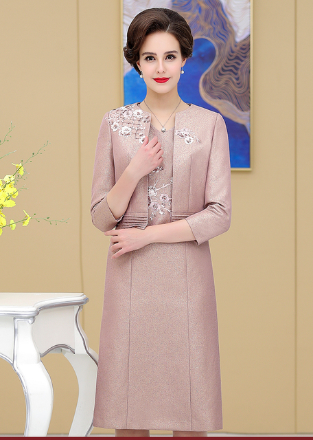 Elegant Lace Mother of the Birde Dresses 2019 Two Pieces Mermaid Full Sleeve Short Wedding Events Party Prom Women Dresses 2