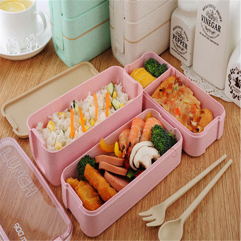 900 Ml Portable Healthy Material Lunch Box 3 Layer Wheat Straw Bento Boxes Microwave Dinnerware Food Storage Container Foodbox