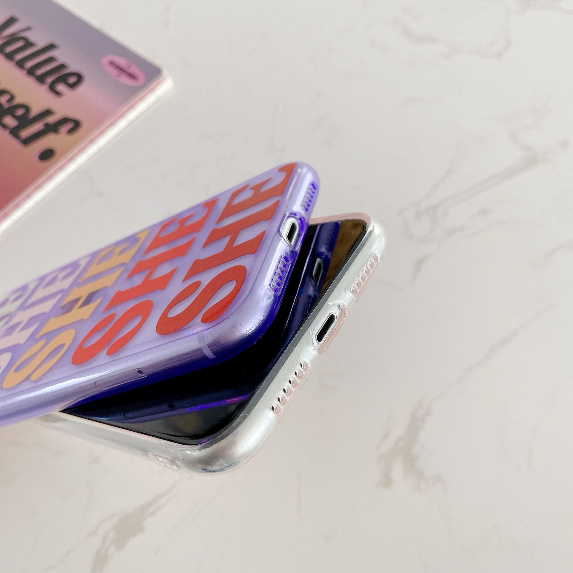 Colorful Gradient Letter Case For iPhone 11 Pro Max SE 2020 X XR XS Max 7 8 Plus Transparent Soft Silicone Phone Cover Coque