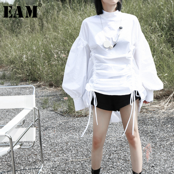 [EAM] Women Black Pleated Big Size Blouse New Stand Collar Lantern  Sleeve Loose Fit Shirt Fashion Tide Spring Autumn 2020 1K286