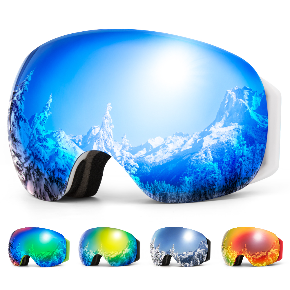COPOZZ Frameless Ski Goggles With Snow Mask Men Women Snowboard Goggle Magnetic UV400 Eye Protection Anti Fog Skiing Glasses