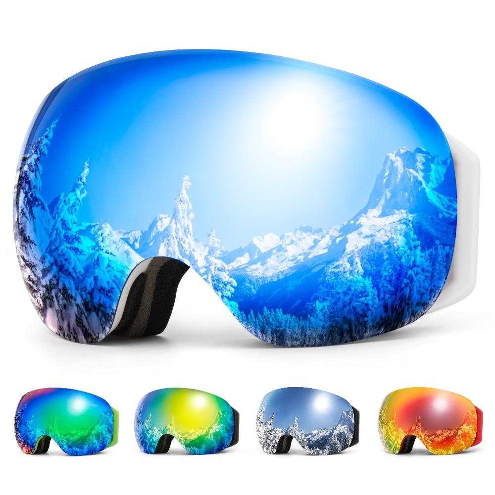 COPOZZ Frameless Ski Goggles With Snow Mask Men Women Snowboard Goggle Magnetic UV400 Eye Protection Anti Fog Skiing Glasses