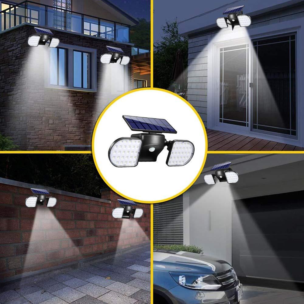 Image 5 - Solar Lights Outdoor 56 LED Solar Wall Lights with Motion Sensor Dual Head Spotlights 360° Adjustable Solar Motion LightsSolar Lamps   -